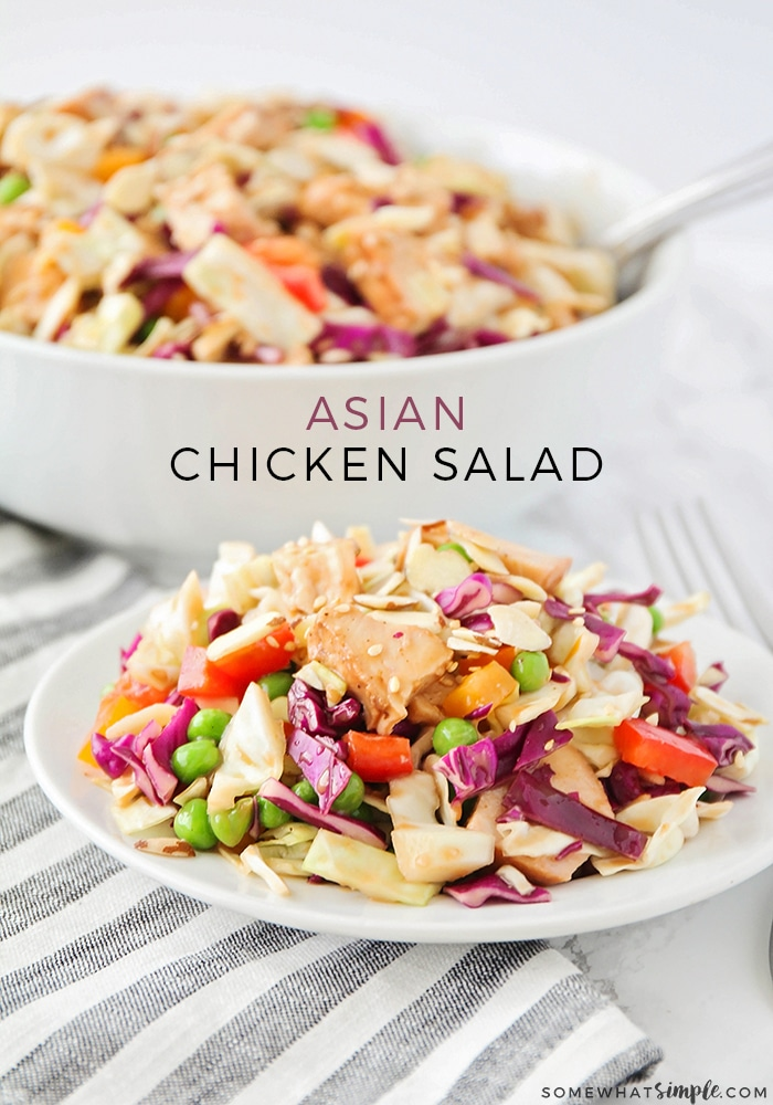 This healthy and delicious Asian salad recipe is loaded with fresh veggies and tender chicken. Add it as a light side dish or make it as an easy meal that's perfect for summertime! #asiansalad #asianchickensalad #salad via @somewhatsimple