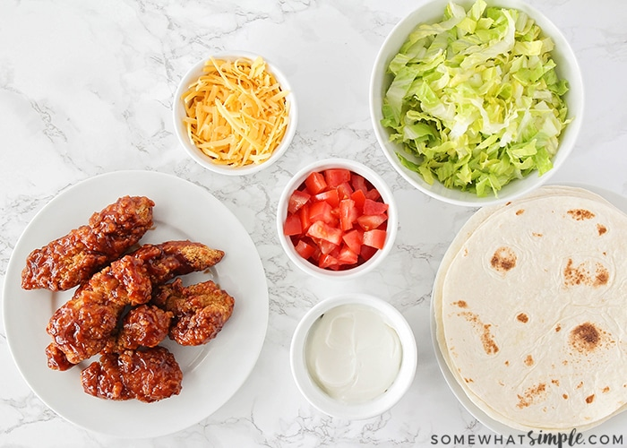 bbq chicken and other taco toppings