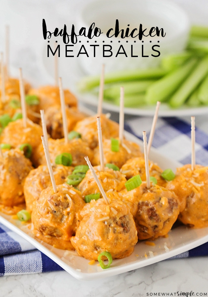These delicious buffalo chicken meatballs are a simple and easy appetizer recipe that your guests will love.  Simply throw a few ingredients into your slow cooker and you'll be all set! #slowcookerbuffalochickenmeatballs #buffalochickenmeatballrecipe #appetizer #buffalochickenmeatballs via @somewhatsimple