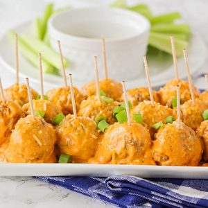 easy buffalo chicken meatballs