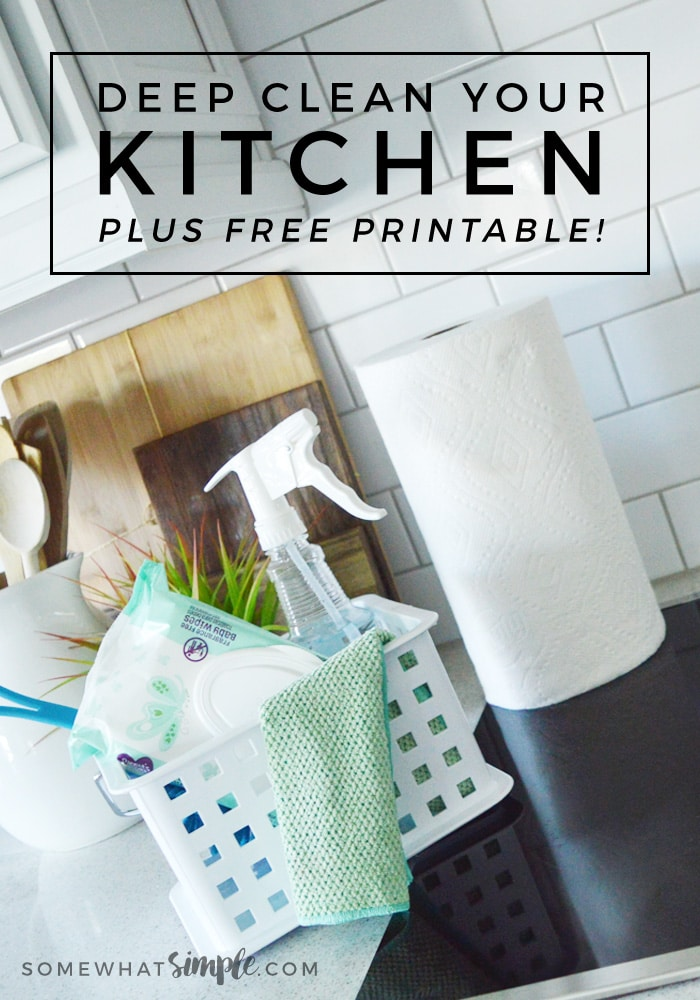 Get your kitchen sparkling with our printable kitchen cleaning checklist! Step-by-step tips on how to clean a kitchen + the supplies you need to get it done! #kitchen #clean #organize #springcleaning #deepclean #kitchenprintable via @somewhatsimple
