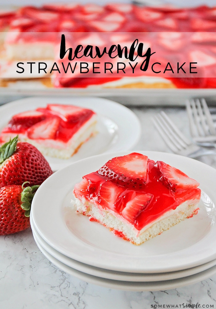 This Easy Strawberry Cake recipe is deliciously creamy and full of sweet strawberry flavor. It is hands-down the best strawberry cake recipe I've ever made. If you're looking for an easy strawberry cake recipe, this is it! #strawberrycakerecipe #strawberrycake #strawberry #cake #dessert #easy via @somewhatsimple