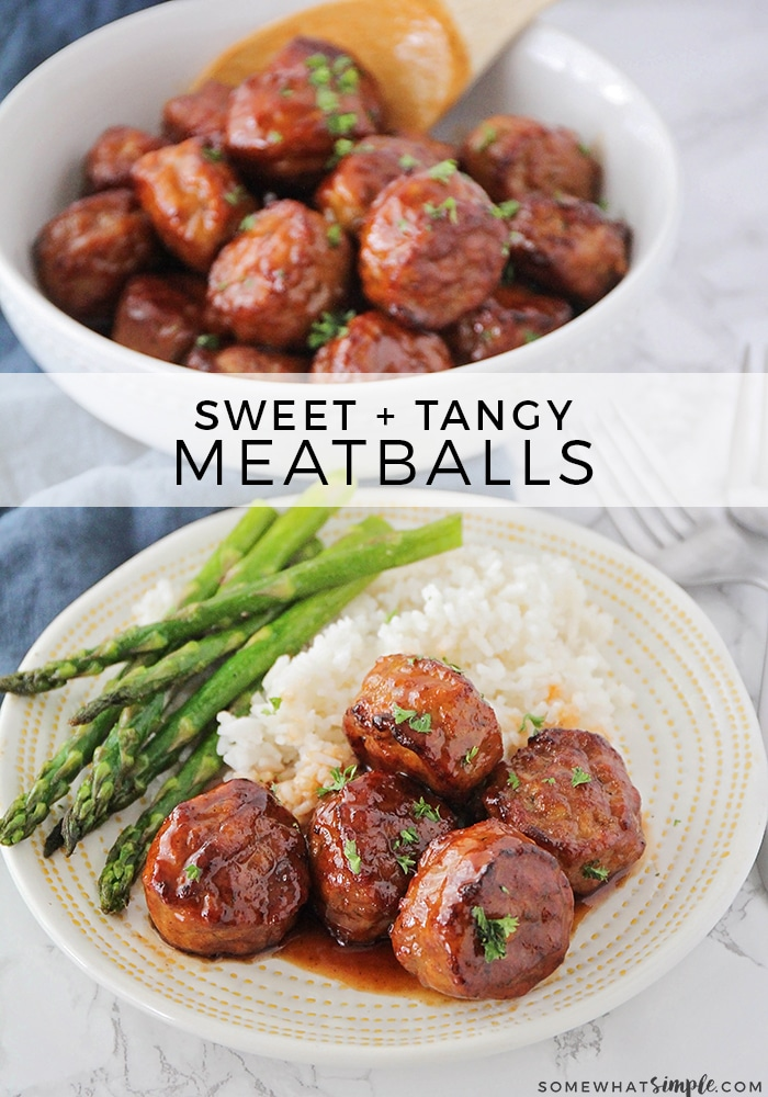 Looking for a delicious dinner for your family, or an easy party food? These Sweet and Sour Meatballs are for YOU! This is the BEST crock pot meatballs recipe! #easyrecipe #crockpot #crockpotrecipes #easydinner #sweetandsourmeatballs #crockpotmeatballs via @somewhatsimple