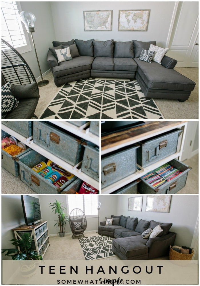 Comfy, durable, and stocked with snacks - here is our home loft, which happens to be the perfect teen hangout!  #teenhangout #loft #teenroom #decor #roomideas #gameroom #teenager