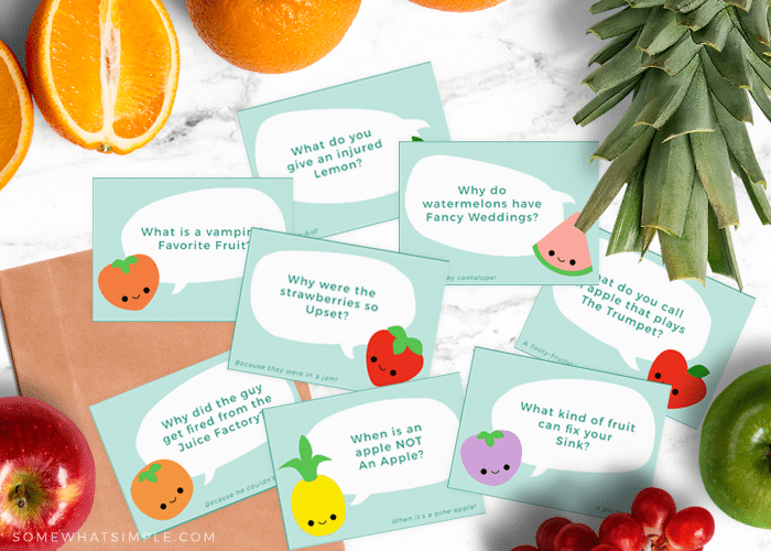 Lunchbox Jokes - Free Printable Cards from Somewhat Simple