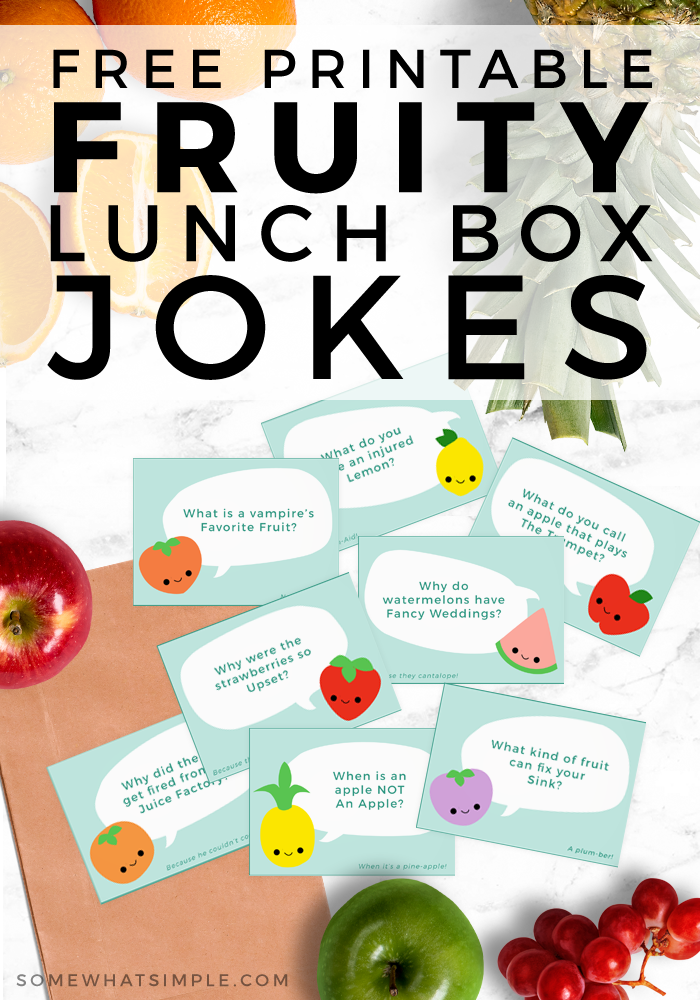 Kids of all ages are going to LOVE these lunchbox jokes! Place one inside their lunch with a happy little note and bring a smile to their day! #lunchbox #jokes #kids #notecards #printables via @somewhatsimple