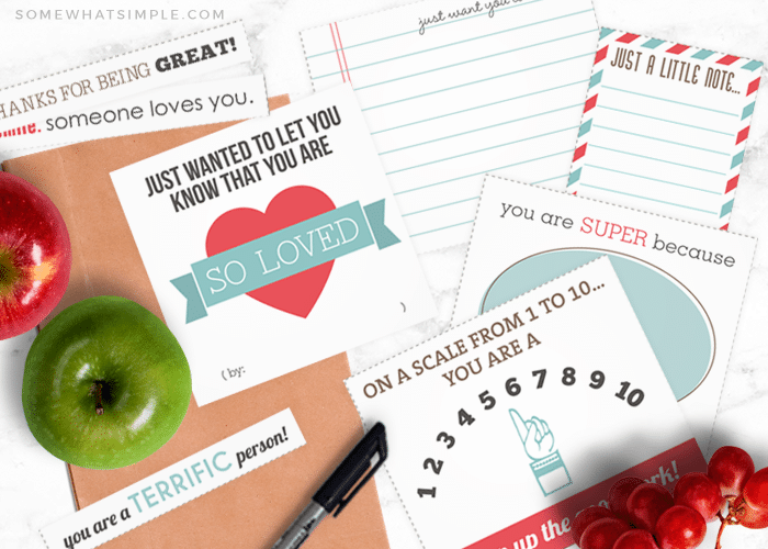 free printable lunch notes