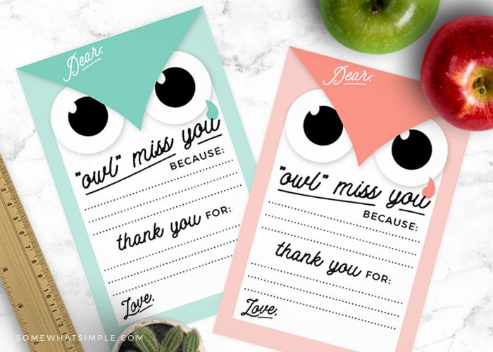 'Owl' Miss You -Thank You Notes to Teacher
