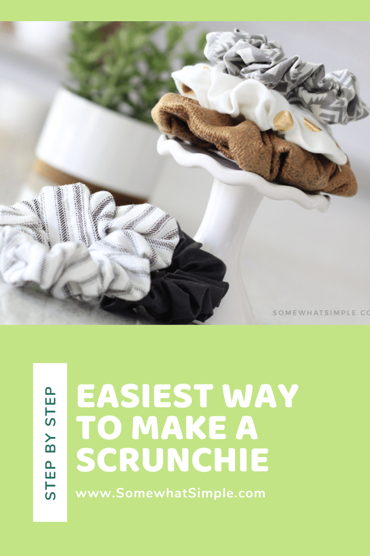 Scrunchies are all the rage and you won't believe how easy they are to make! Learn how to make a scrunchie in just a few minutes that are exactly like what you would buy in the store! #diyscrunchie #howtomakeascrunchie #howtomakeascrunchievideo #howtomakescrunchies #howtomakeaprofessionalscrunchie via @somewhatsimple
