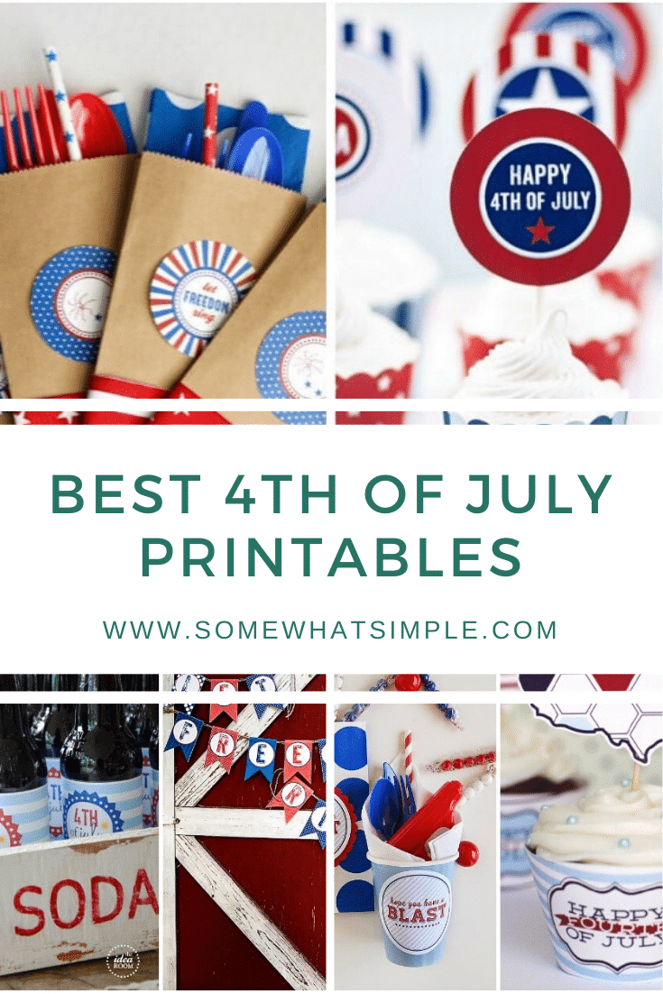 Get ready to celebrate Independence Day with 15 favorite 4th of July Printables!  These adorable ideas will help make your July 4th more festive and patriotic. #4thofjuly #printables #july4thfreeprintables #july4thdecorations #july4printablesforkids via @somewhatsimple