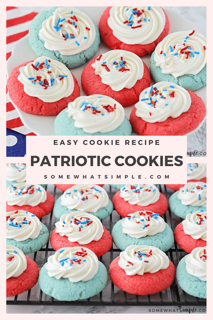 These patriotic jello cookies are the perfect addition to any upcoming Fourth of July or Memorial Day celebrations. Whether you're having a BBQ, picnic, or staying home and watching fireworks from your lawn these delicious cookies are simple to make and taste delicious! #patrioticjellocookies #4thofjulytreats #patrioticcookierecipe #jellocookies #patrioticcookies #memorialdaycookies via @somewhatsimple