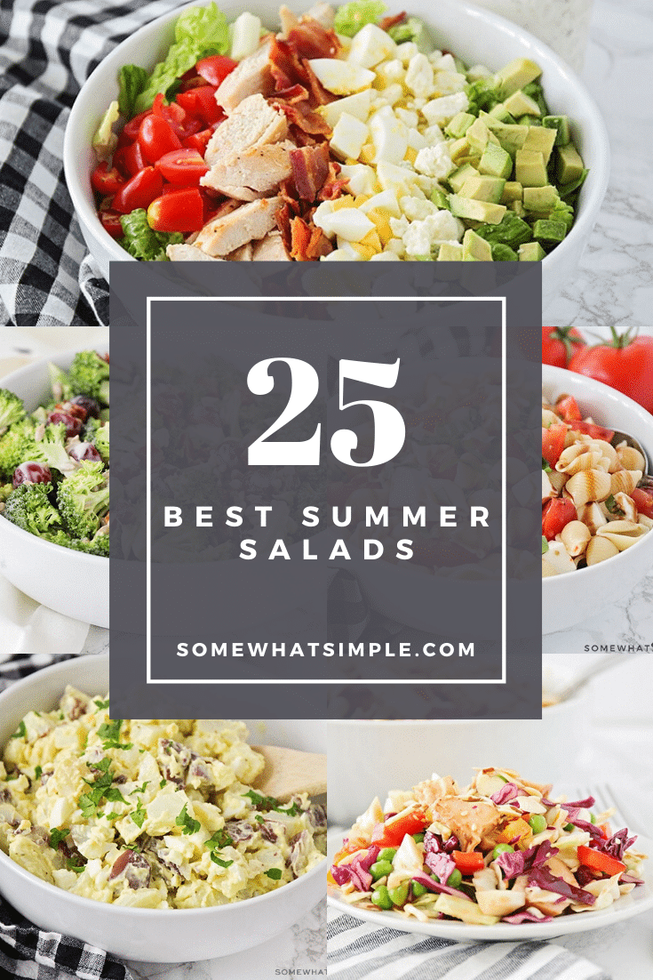 Summertime just got a whole lot fresher! Here are our favorite go-to summer salads recipes that are made with so many healthy ingredients.  With so many delicious options, you won't know where to begin. #summersalads #chickensalads #dinnersalads #sidesalads #pastasalads #fruitsalads via @somewhatsimple