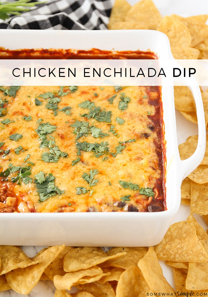 Chicken Enchilada Dip is an easy appetizer and delicious side that can feed and please a crowd! #chickenenchiladadip #enchiladadiprecipe #easyenchiladadip #dip #appetizer via @somewhatsimple