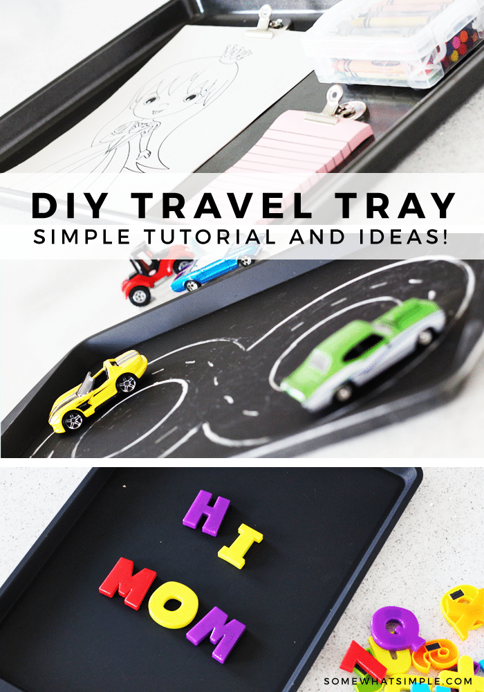 Keep your kids entertained and happy on your next road trip with this simple road trip travel tray! #travel #familytravel #roadtrip #activities #roadtripgames via @somewhatsimple