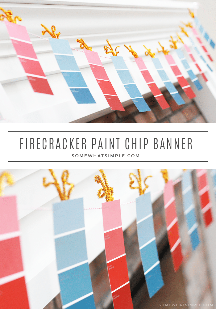 Paint Chip Banner - Easy 4th of July Decoration Project! You're going to love how simple + easy it is to make this adorable firecracker paint chip banner! It's the perfect 4th of July decoration for any home! #4thofjuly #fourthofjuly #patriotic #decor #craft #redwhiteblue #paintchip #banner #garland #festive #simple