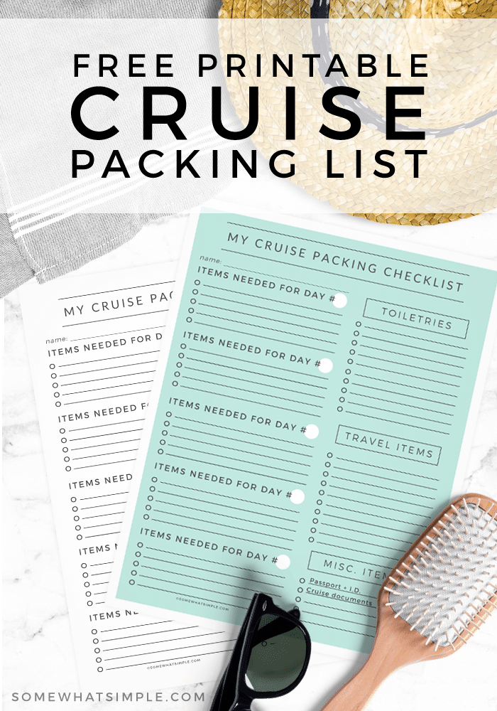 This printable cruise packing list will help you make sure you're ready to set sail!  This list covers everything from the essentials to things you probably never considered before.   Now you can relax knowing you'll have everything you need while you're out at sea.  #cruisetips #cruisepackinglist #cruisepackingchecklistfreeprintable #caribbeancruisepackingchecklist #mexicocruisepackinglist via @somewhatsimple