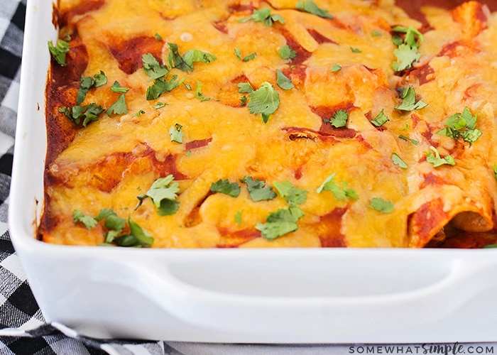 a pan of baked red enchiladas