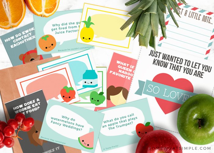 lunch box notes and jokes free printables for kids
