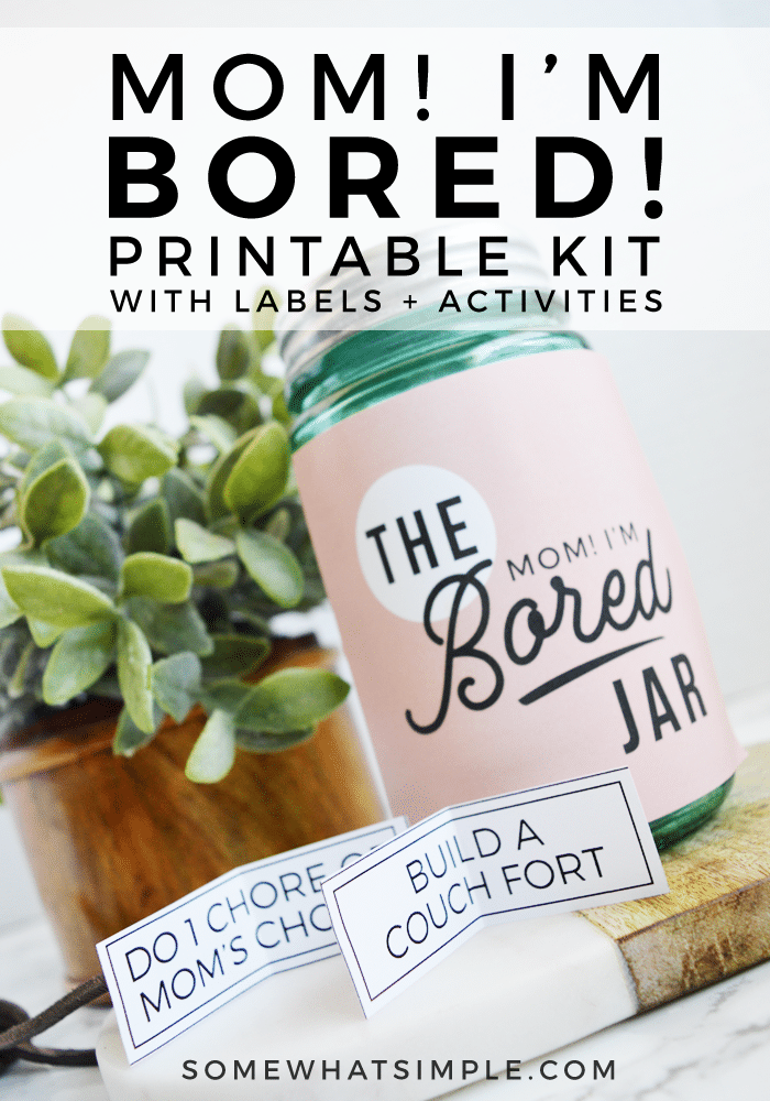 "Keep summer boredom at bay with the ""Mom I'm Bored"" Jar! Any time your kids say they're bored they can pick an activity from the bored jar. It could be something fun or it could be a chore. It'll make them think twice before saying they're bored! #summer #printable #activities #kidsactivities #kidscraft via @somewhatsimple"