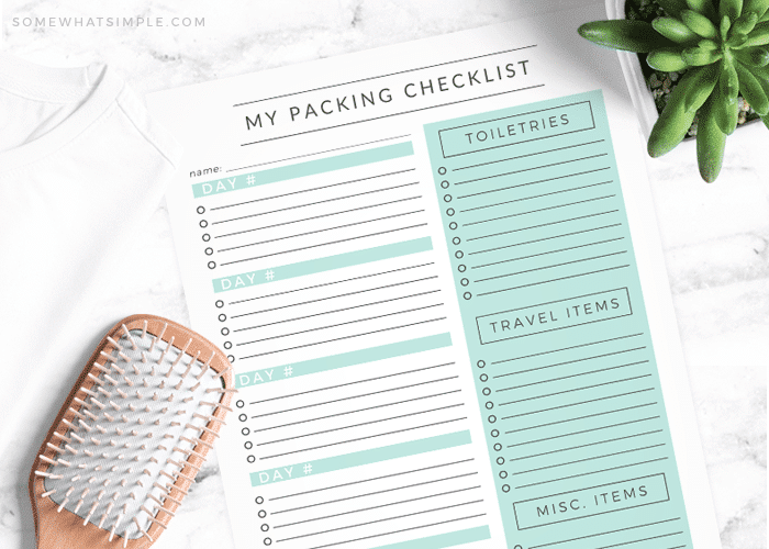 packing checklist free printable family vacation road trip travel