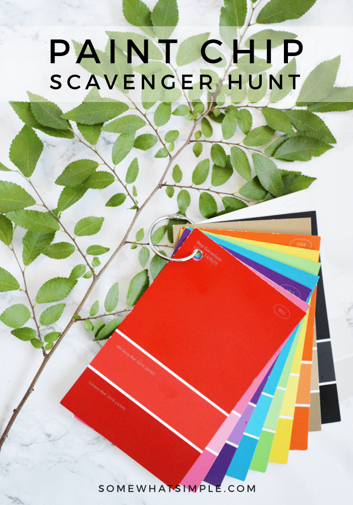 Get ready to explore the great outdoors! A Paint Chip Scavenger Hunt for Kids is such a fun way to beat summer boredom! #scavengerhunt #paintchip #activities #summer #outdoor via @somewhatsimple