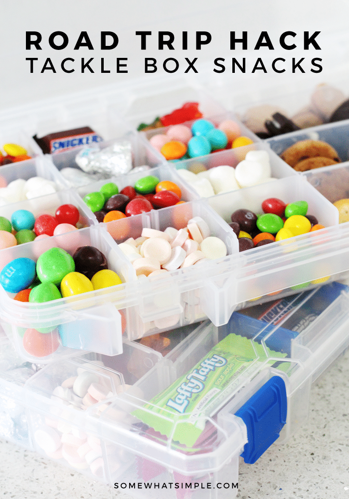 Fill a tackle box with some treat for the kiddos and you've got the cutest little road trip snacks for your next family vacation!  #travel #snacks #roadtrip