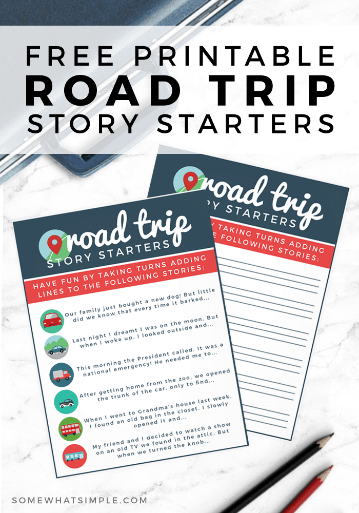 Help keep the kids entertained on your next vacation with these free Road Trip Printable Story Starters! #roadtrip #familyvacation #vacation #kids #freeprintable #momhack #parenting #imagination