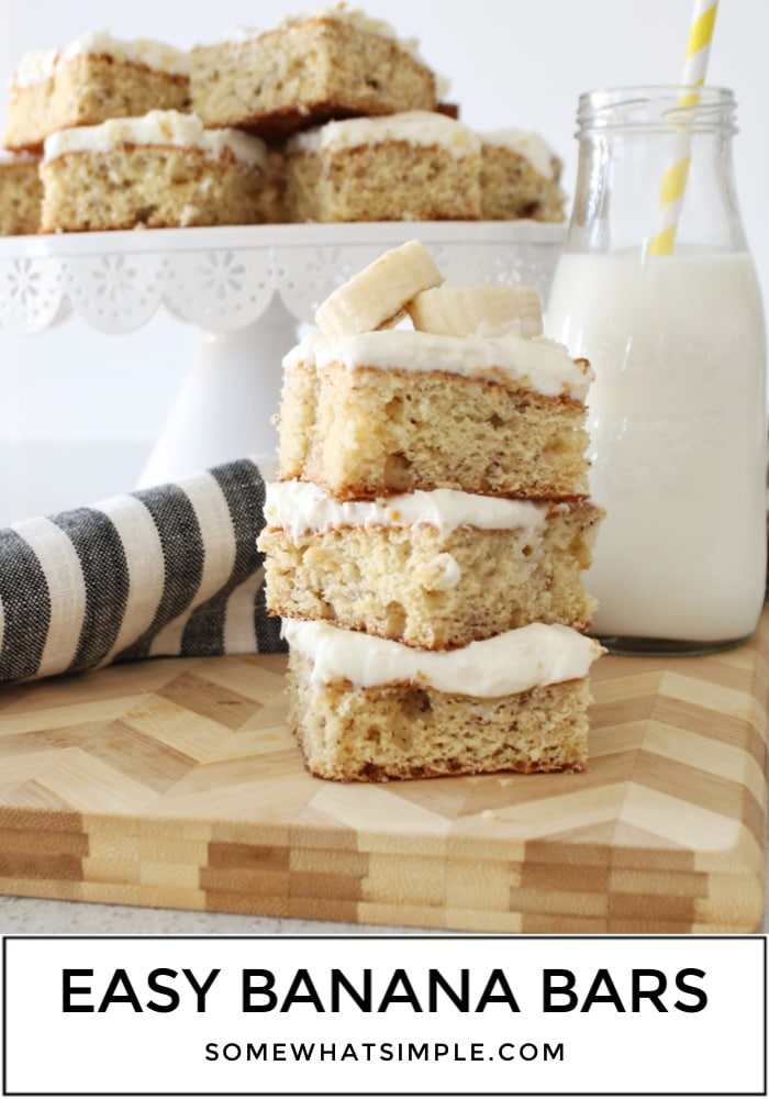 Topped with an amazing cream cheese frosting, these banana bars are the best you'll ever have. Made with fresh bananas and a few simple ingredients, this easy recipe is both fluffy and moist! #bananabars #bananabarsrecipe #bananabarswithcreamcheesefrosting #easybananabarsrecipe #bananabarswithsourcream via @somewhatsimple