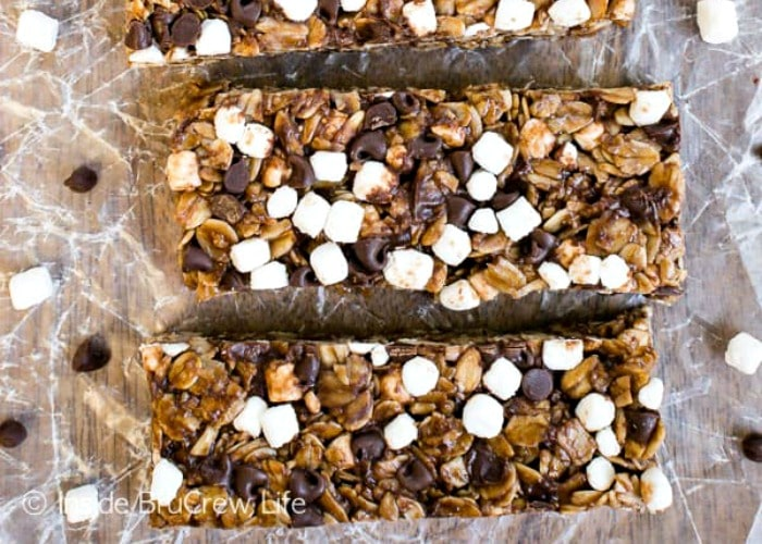 looking down on three homemade granola bars that make a quick camping breakfast idea