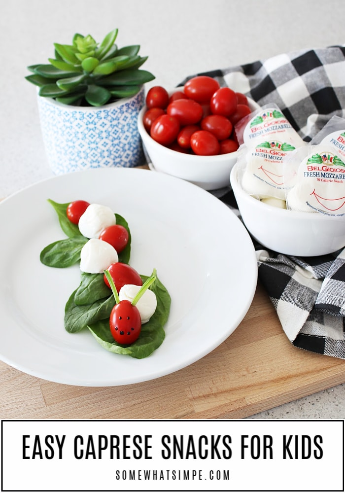 Caprese Bites are a fresh and fun snack or appetizer that taste delicious! The classic flavors of tomato and mozzarella arranged in the shape of a caterpillar for added entertainment that your kids will love! #caprese #capresebites #capresebitesrecipe #snackforkids #caterpillar #tomato #mozarella #capresebiteswithbalsamic via @somewhatsimple