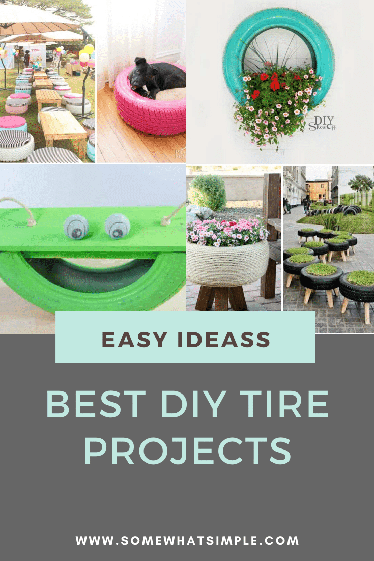 Old tires can be a nightmare to recycle, but have no fear! Here are 10 tire recycling ideas that will give your old tires new life and make them look amazing!#diytireprojects #gardentireprojects #backyardtireprojects #creativetireprojectideas #tireprojectsforkids via @somewhatsimple