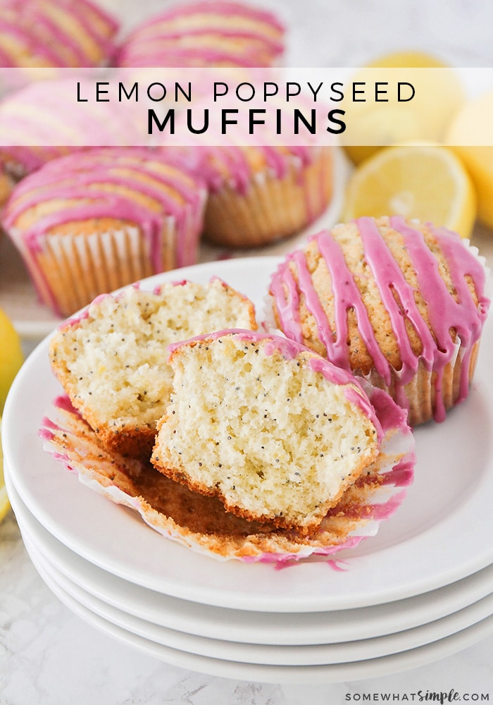 These Lemon Poppyseed Muffins are light, fluffy and perfectly sweet! They have just the right amount of tartness from the lemon zest and the blueberry glaze will knock your socks off! #muffins #muffinrecipe #easybreakfast #brunch #lemonpoppyseedmuffins #lemon #poppyseed  via @somewhatsimple