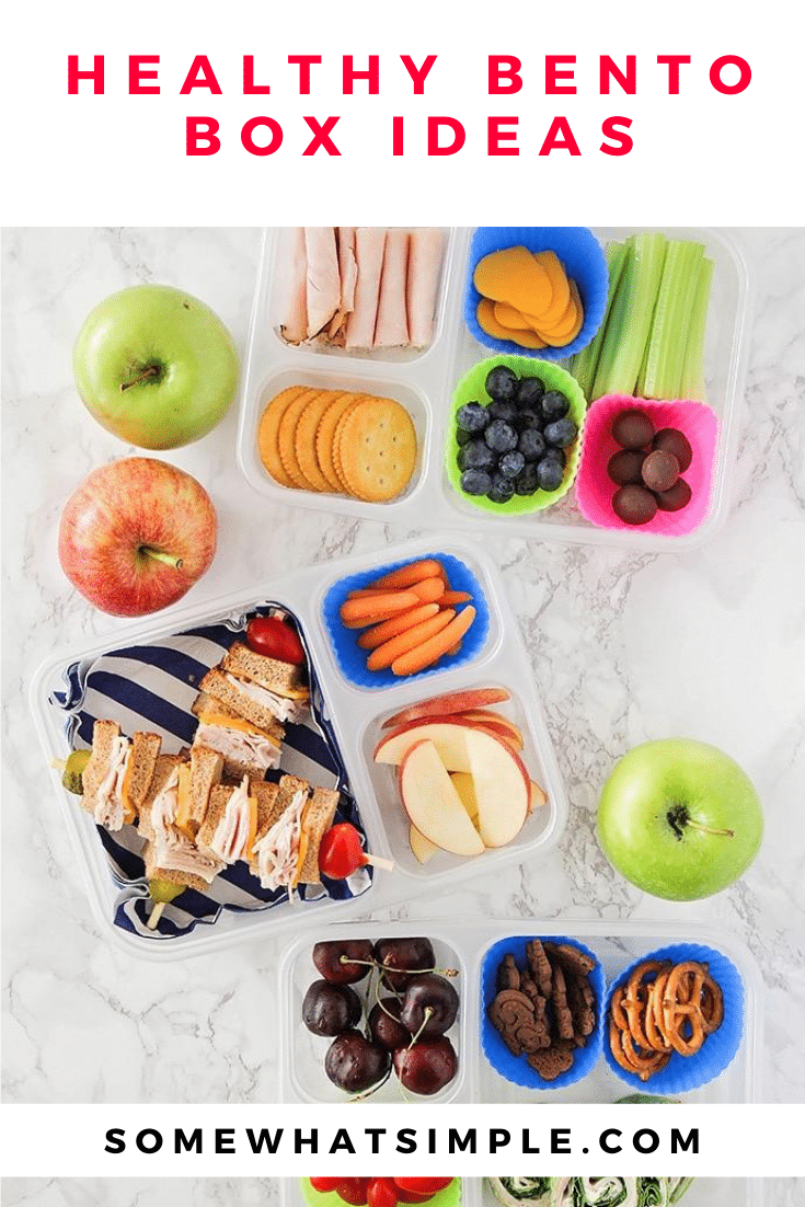 Grab a bento box and get ready to create the cutest lunch your kids ever did see! Here are 15 bento box recipes for kids! #bento #bentobox #bentoboxlunch #bentolunch #cutelunch #lunchforkids #backtoschool via @somewhatsimple