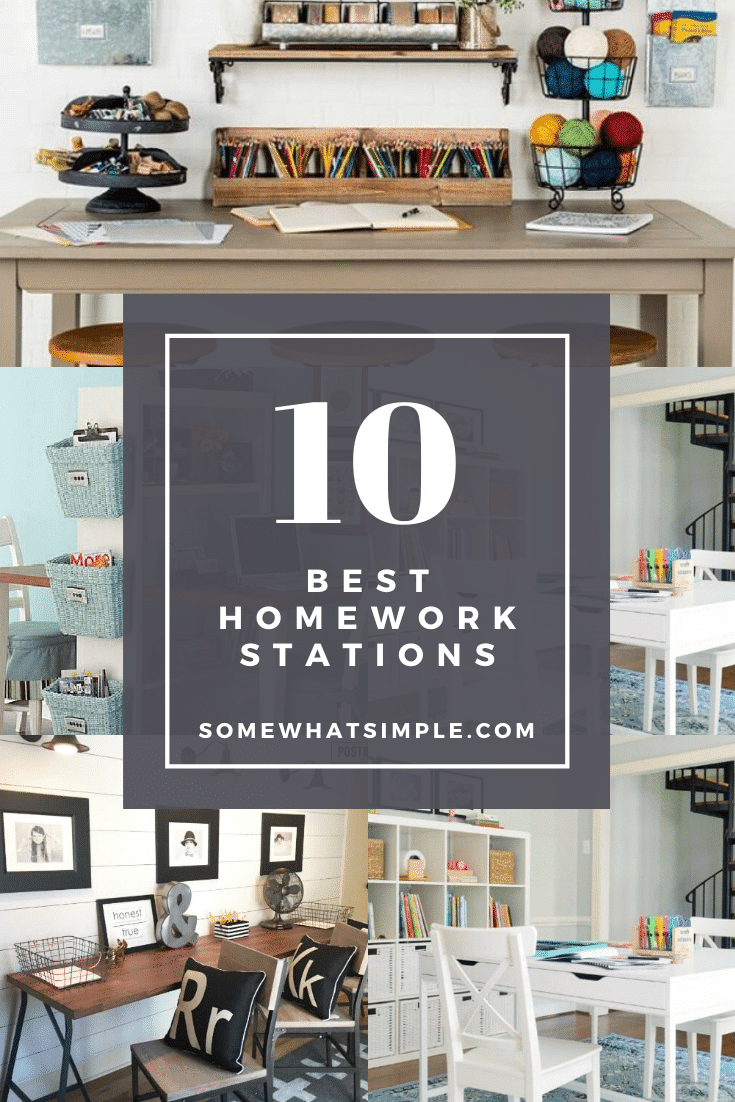 Set your kids up with some serious Back-to-School SUCCESS by making a special spot to study and complete their homework assignments! Here are 10 of our favorite homework station ideas you can create in your home!#homeworkstation #homework #backtoschool #kidsdesk #homeworkstationideas via @somewhatsimple