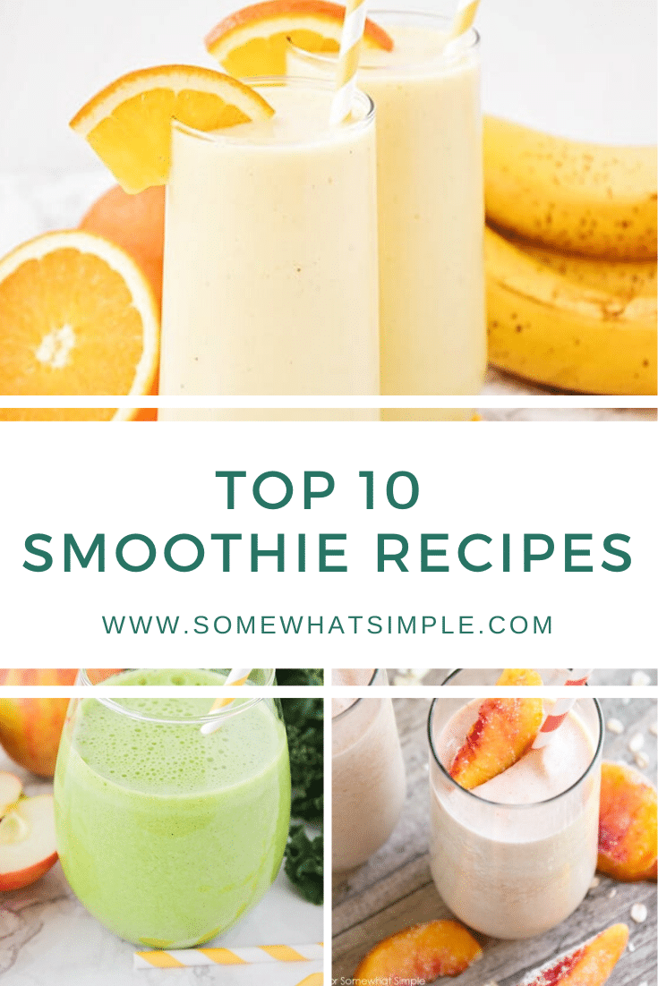 Smoothie lovers, this one is for you! Today we are sharing our very favorite smoothie recipes that are perfect for breakfast, lunch, or an afternoon snack! With 10 different options to choose from, there's something for everyone! Made with fresh fruits like pineapple, banana, orange and peaches, these smoothies are healthy and delicious. Each recipe is easy to make and tastes amazing!#smoothies #smoothierecipes #fruitsmoothies #easysmoothierecipes #drinkrecipes #healthysmoothies via @somewhatsimple