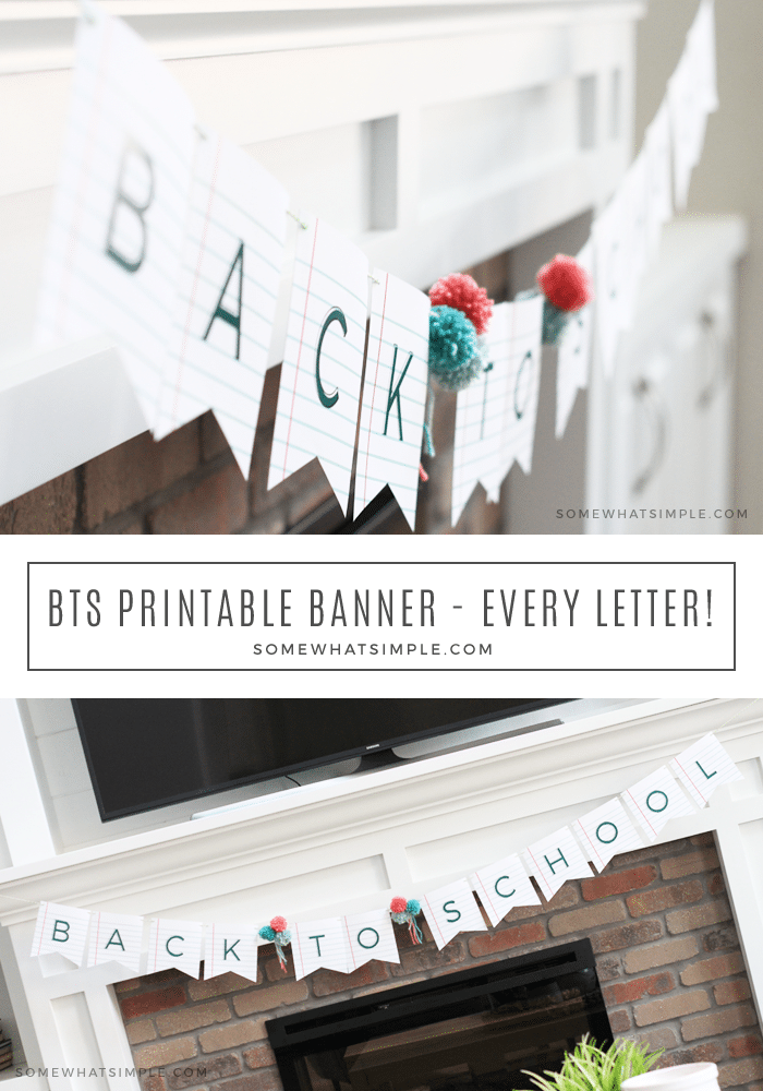 This darling School-Themed Banner printable is one of our favorites! All 26 letters of the alphabet are included, so you can spell out anything! Simply print out only the letters you need! #party #decorations #partydecor #banner #freeprintable #freedownload #anyoccasion #alphabet #simple #backtoschool #school via @somewhatsimple