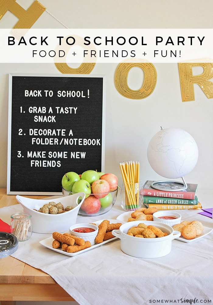 This fun and easy back to school party is the perfect way to get the kids excited about starting a new year of school, and to build friendships! via @somewhatsimple