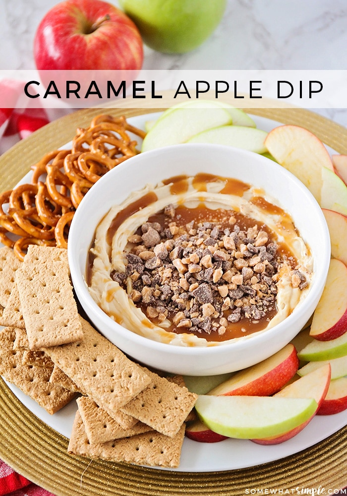 This sweet and delicious caramel apple dip has only 4 ingredients, and it is delicious with fresh apple slices! If you're looking for an easy fall dessert, this caramel apple dip recipe is PERFECT! #caramelappledip #creamcheesecarameldip #appledip #caramelapplediprecipe via @somewhatsimple