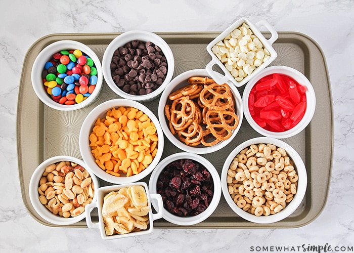 This make your own trail mix bar is such a fun way to get the kids involved. Lay out a variety of ingredients, and let them assemble their own trail mix!