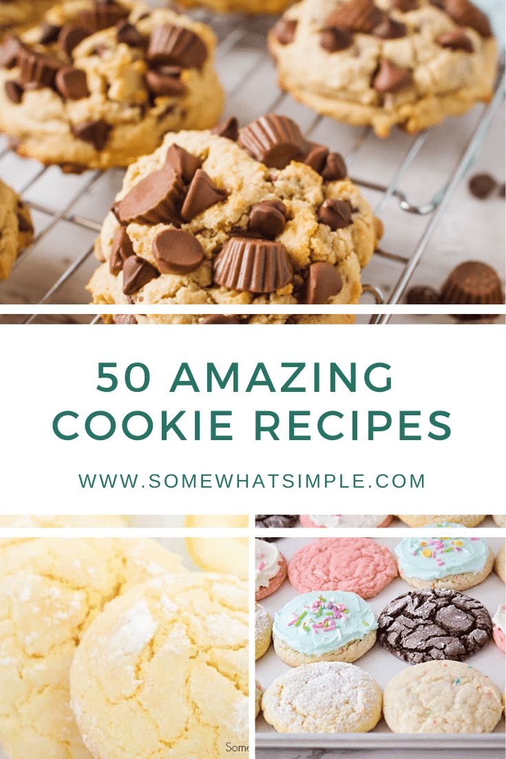 Everyone has their favorite cookie recipes, but you just might find your newest addiction on the list below. We're sharing 50 favorite cookie recipes from blogs we LOVE! From chocolate chip cookies, to sugar cookies, to cake mix cookies and everything in between. There's a recipe you're definitely going to love! #easycookierecipes #bestcookierecipes #homemadecookierecipes #sugarcookies #cakemixcookies via @somewhatsimple
