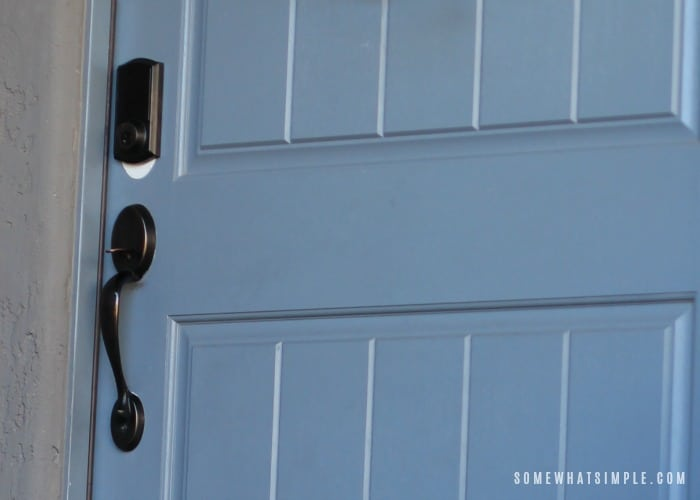 courtyard with blue door