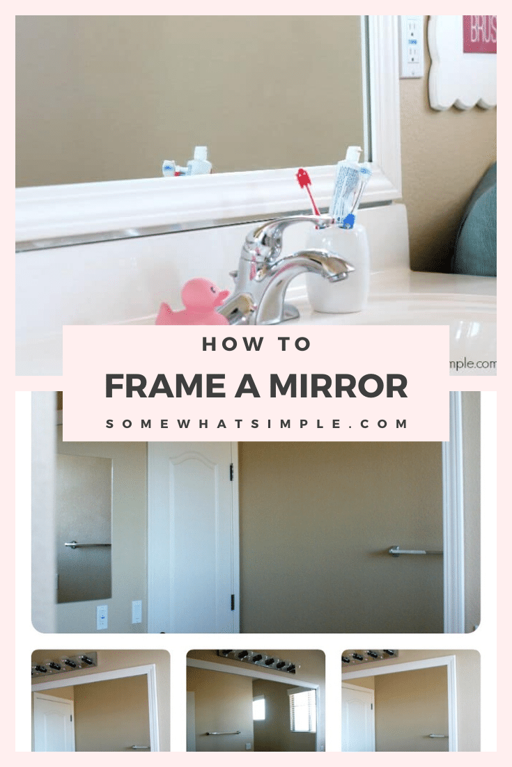 Have you ever wanted to frame your bathroom mirror but those plastic clips kept getting in the way? This easy step by step tutorial will show you how to frame your mirror over those plastic clips quickly. #howtoframeamirror #howtoframeabathroommirror #howtoframeamirrorwithplasticclips #easywaytoframeamirror #howtoframeamirrorwithbuildergradeclips via @somewhatsimple