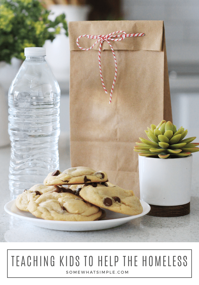 Helping the homeless in your community isn't hard, and it isn't scary! Here is a thoughtful way to get the whole family involved in a simple act of service.#service #help #homeless #treats #familyservice #kidsserviceideas via @somewhatsimple