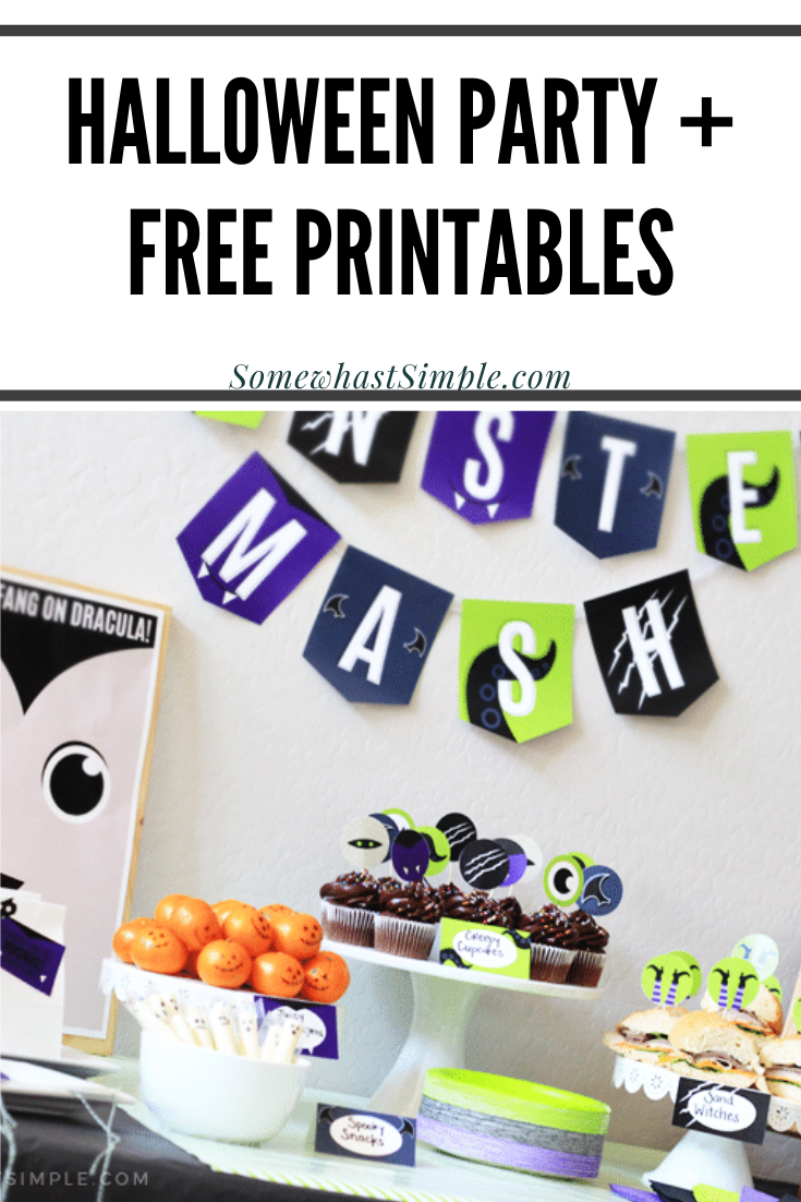 The most adorable Halloween Party Printables in all the land, along with simple yet awesome Monster Mash Party ideas that kids and parents will love! This fun idea comes with free printables that will have your decorations, invitations and food covered. via @somewhatsimple