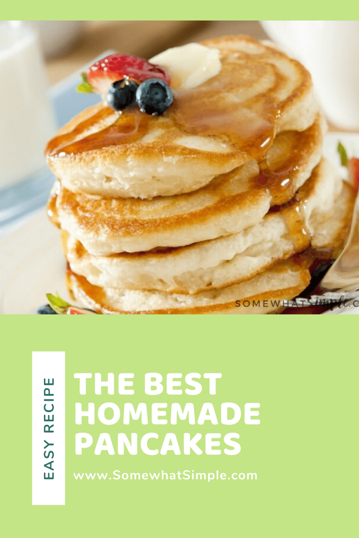 A 15-year quest to duplicate grandma's famous pancake recipe results in the discovery of the best pancakes ever! These pancakes are guaranteed to be the fluffiest you'll ever make. I promise, once you taken a bite of this pancake recipe, you'll think it's the best you've ever had. #pancakerecipe #fluffyhomemadepancakes #easypancakerecipe #homemadepancakes #pancakesrecipe #basicpancakerecipe via @somewhatsimple