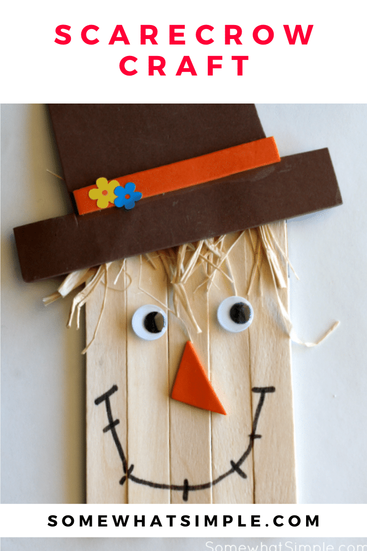 Grab a few simple supplies and get ready to create a darling little scarecrow! This simple scarecrow craft is the perfect art project to do with your kids this fall! Made with popsicle sticks and a few other basic supplies, this activity is perfect for kids of all ages. #fall #craft #kidscraft #halloween #scarecrow #scarecrowcraft via @somewhatsimple