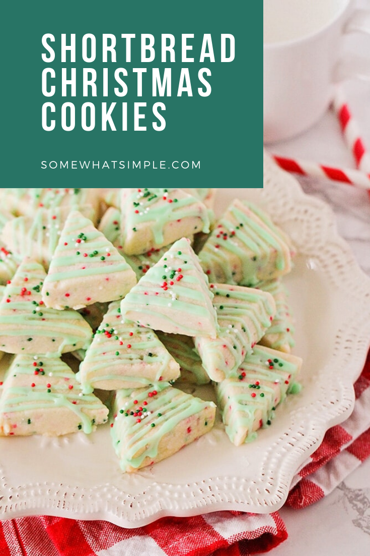 Shortbread Cookies are sweet and buttery and melt in your mouth! These Shortbread Christmas Cookies are easy to make and only require a few simple ingredients! Decorated to look like Christmas trees, this delicious cookies are simple and easy to make during the holiday season. They're perfect to share at your Christmas party with friends and neighbors. via @somewhatsimple