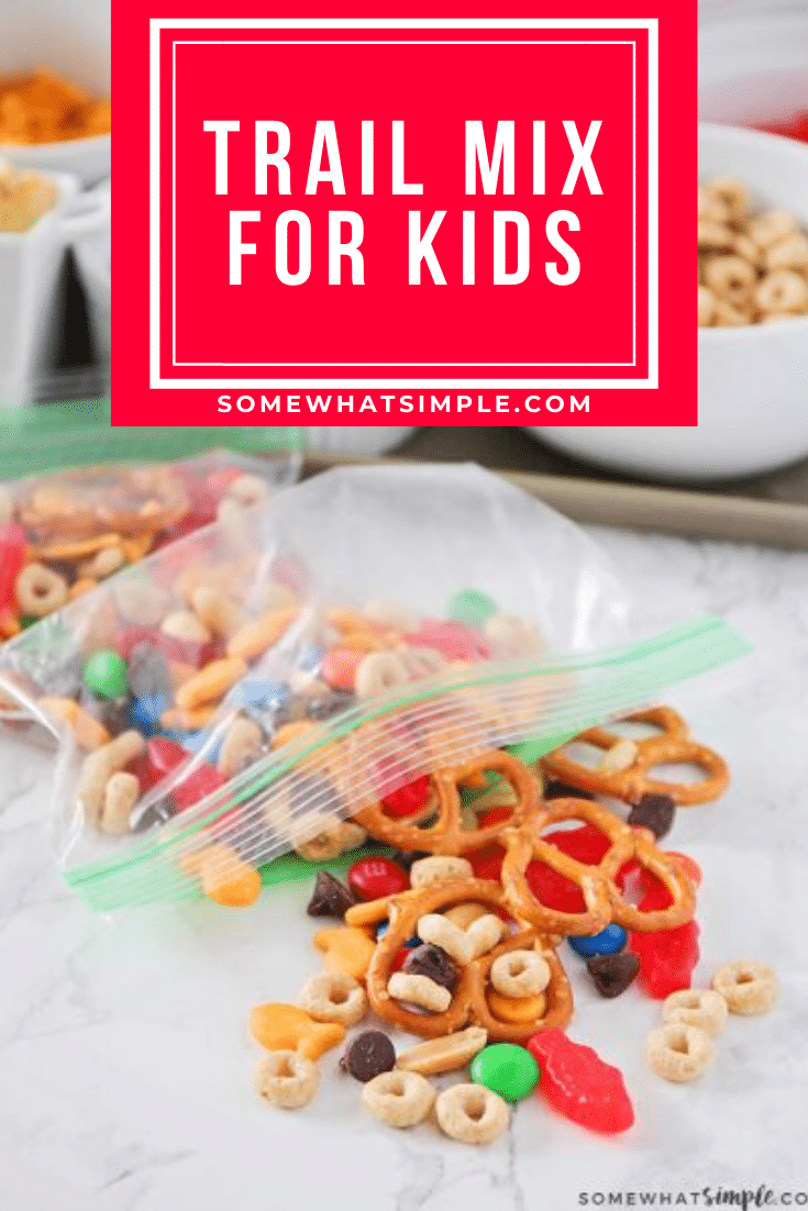 This make your own trail mix bar is such a fun way to get the kids involved. Lay out a variety of trail mix ingredients, and let them assemble their own trail mix snack! It's easy to do and everyone is happy! #trailmix #trailmixrecipe #trailmixbar #kidstrailmix #funtrailmix #easysnackidea via @somewhatsimple