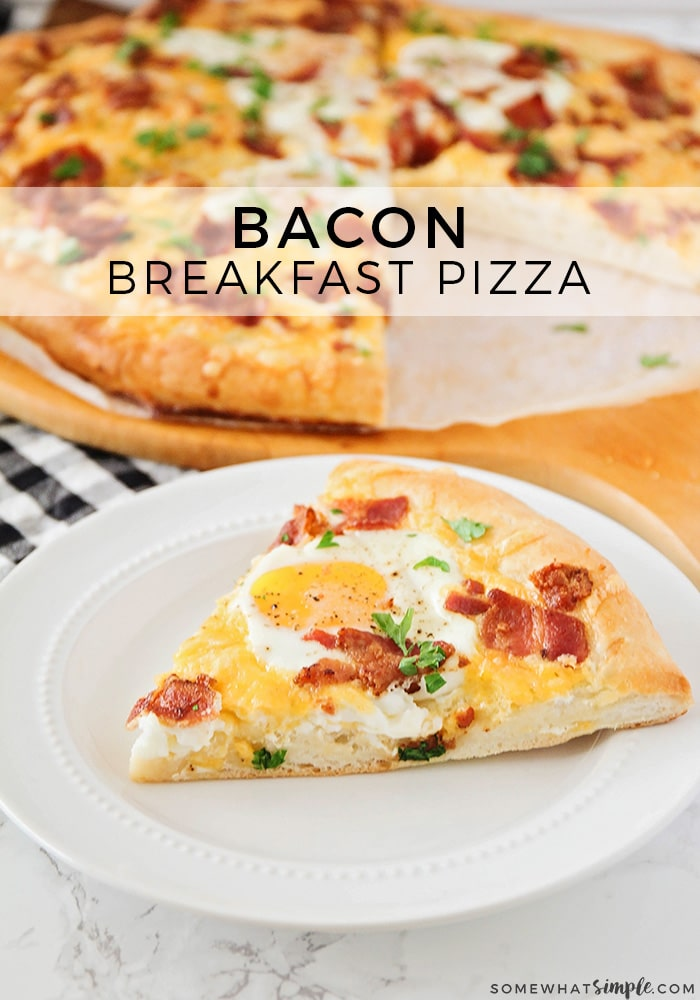 This savory bacon breakfast pizza is a fun twist on a classic breakfast! It's loaded with crisp bacon and melty cheese, and topped with eggs. So delicious!