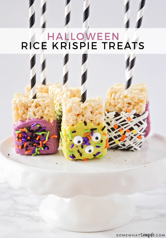 With just a few basic ingredients and 30 minutes of your time, you can make these fun chocolate dipped Halloween Rice Krispie Treats that are both cute and simple! #ricekrispies #treats #halloween #snacks via @somewhatsimple